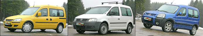 VW Caddy, Peugeot Partner, Opel Combo